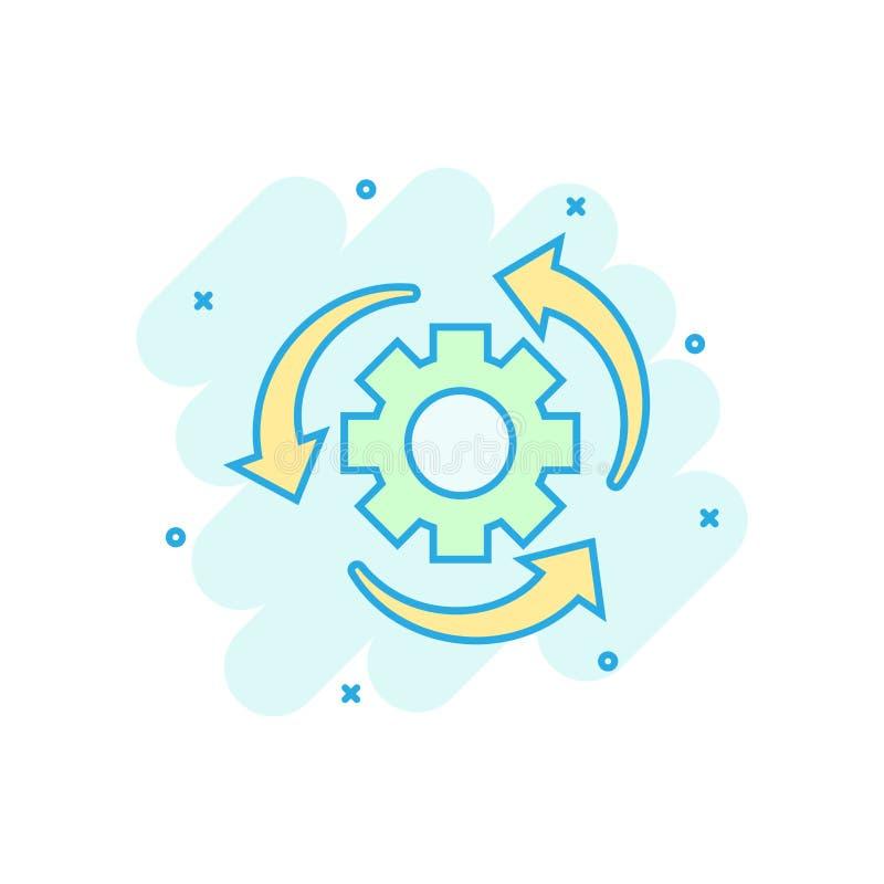 工作流在可笑的样式的过程象 齿轮有箭头传染媒介动画片例证图表的嵌齿轮轮子 工作流企业概念 向量例证