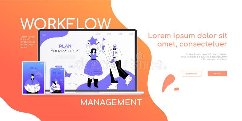 工作流管理-平的设计样式五颜六色的网横幅 库存例证
