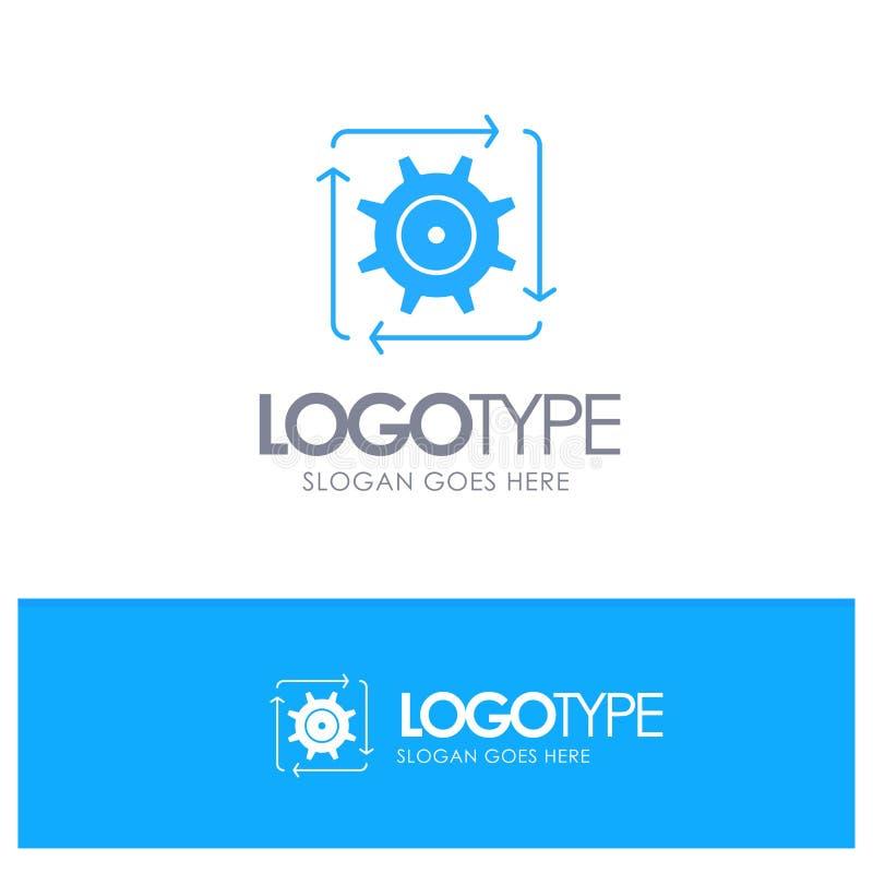 工作流,自动化,发展,流程,与地方的操作蓝色坚实商标口号的 库存例证