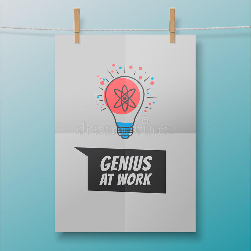 工作海报的天才喜欢在电灯泡内的原子 皇族释放例证