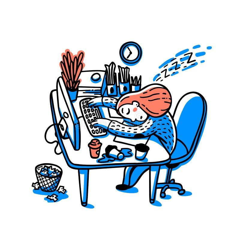 工作淹没的人的概念 信息超载概念 睡觉在她的工作场所的少妇 五颜六色 皇族释放例证