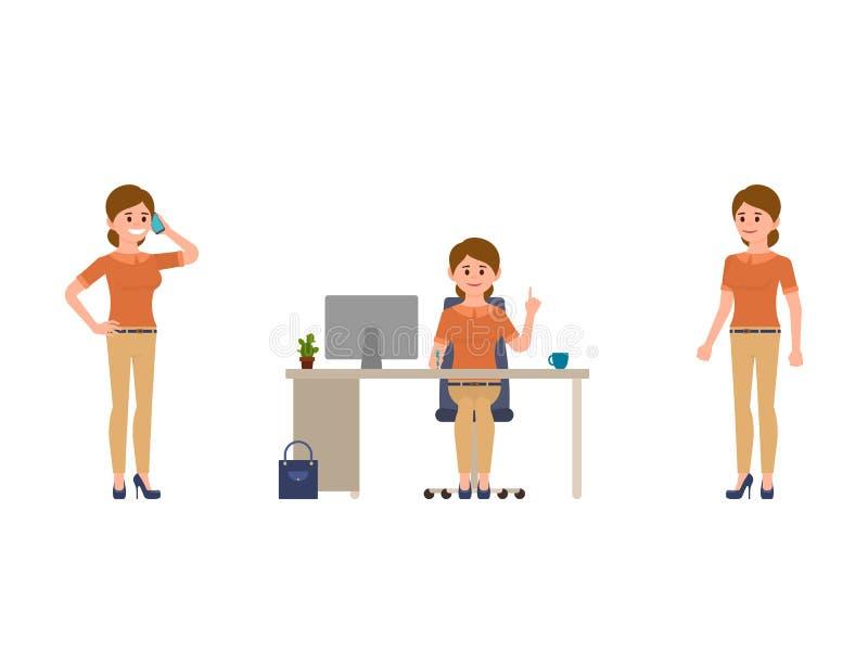 工作漫画人物的妇女 谈话在电话,坐在书桌,常设办公室女性干事 向量例证