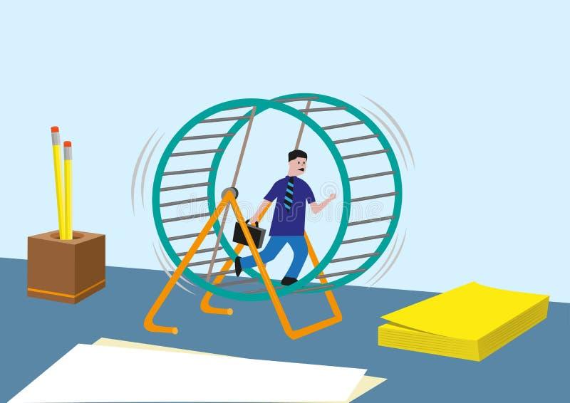 工作狂概念和更多 销售跑的买卖人或销售不尽在仓鼠轮子 库存例证