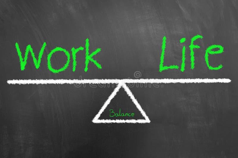 工作生活平衡文本和图画在黑板或黑板 免版税库存照片