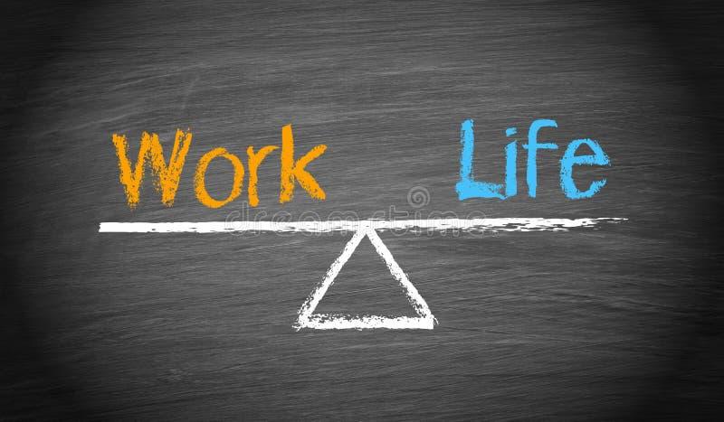 工作生活平衡-起伏与在黑板的文本 库存例证