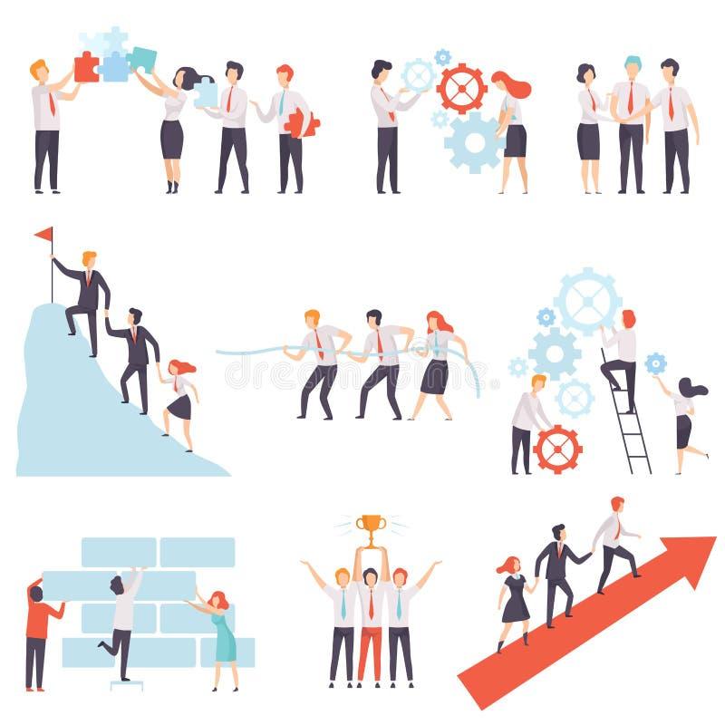 工作的办公室同事一起被设置的,成功的企业队,配合,合作,合作传染媒介例证 库存例证
