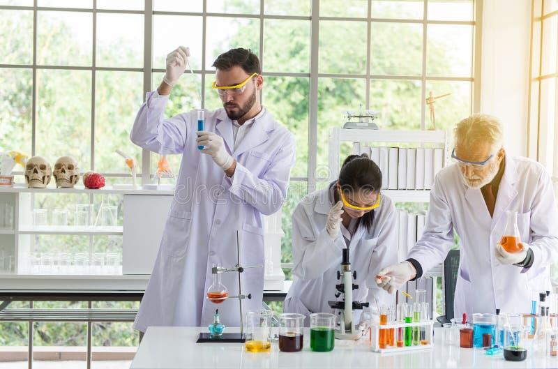 工作的小组科学家汇集医疗化学制品样品在试管在实验室 免版税图库摄影