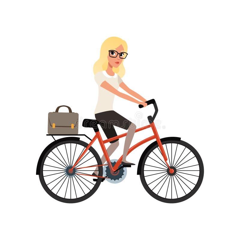 工作的年轻白肤金发的女孩骑马自行车在公文包 女商人漫画人物玻璃的 个人运输 库存例证