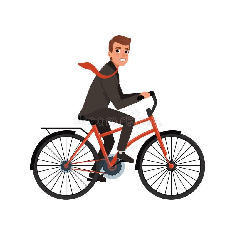 工作的微笑的商人骑马自行车 环境友好的运输 年轻办公室工作者漫画人物  库存例证