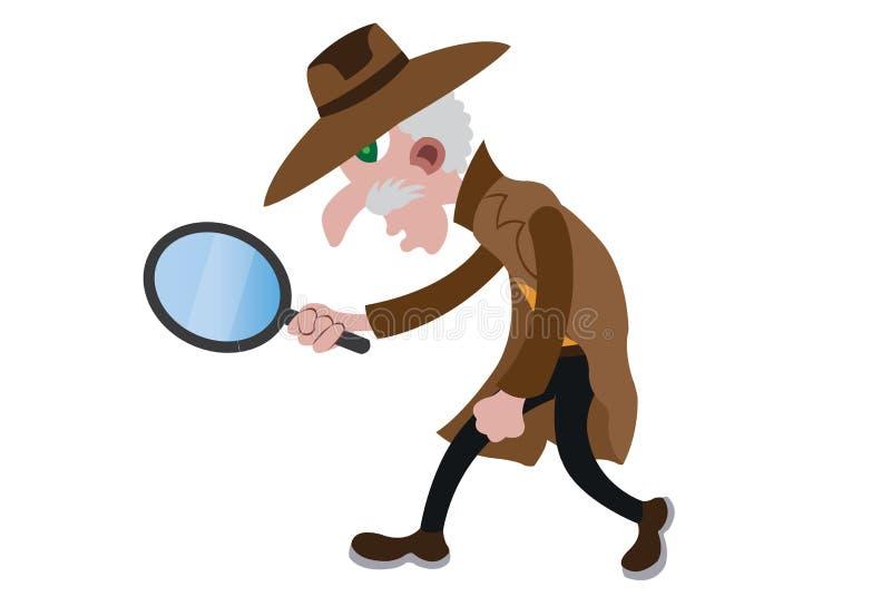 工作的探员与他的野外镜 皇族释放例证