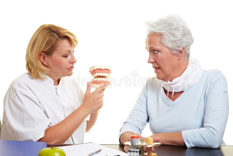 工作的牙科医生解释的前辈 免版税库存照片