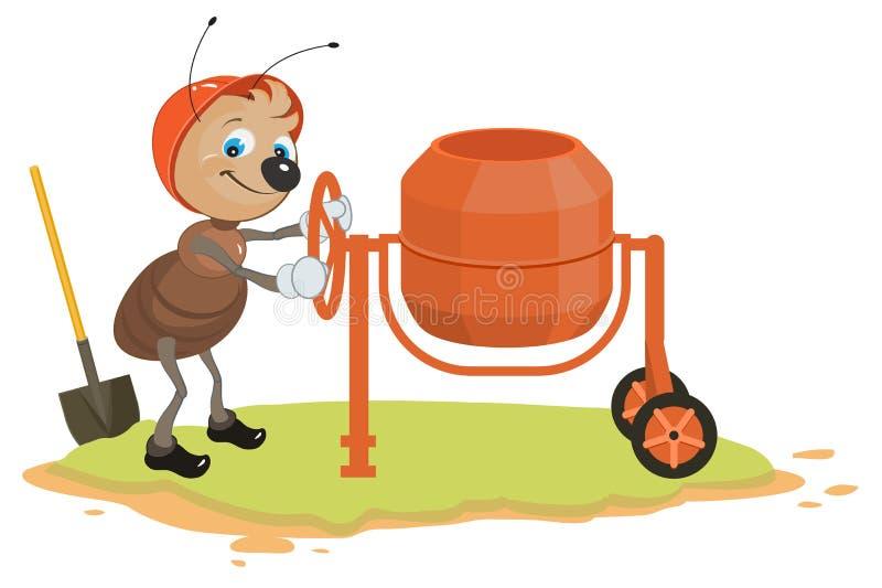 工作的蚂蚁和混凝土搅拌机 向量例证
