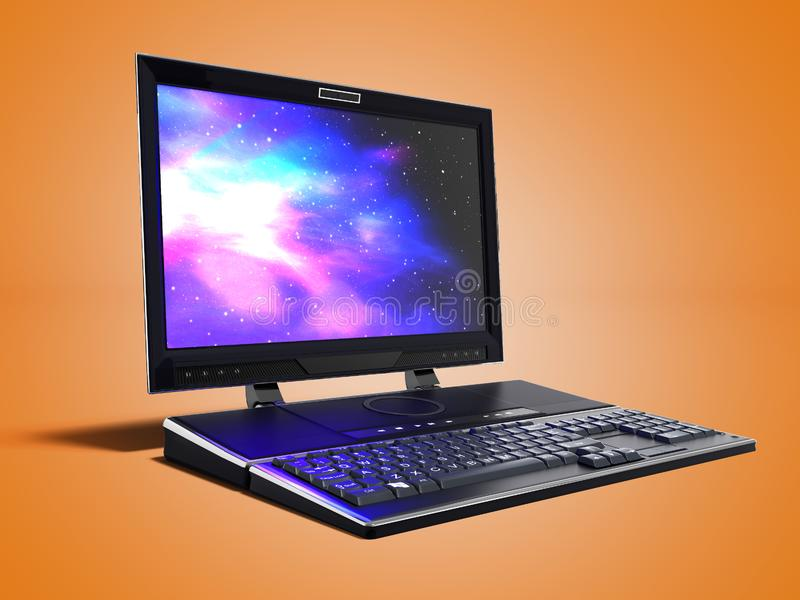 工作的3d现代多媒体膝上型计算机在橙色背景回报 皇族释放例证