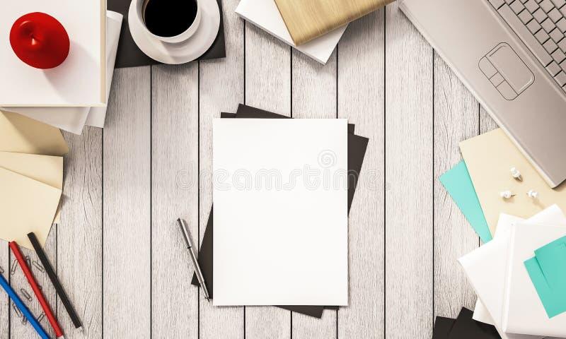 工作空间、咖啡杯书、笔、纸、计算机笔记本、苹果和其他供应在白色木书桌,被回报的3d上 皇族释放例证