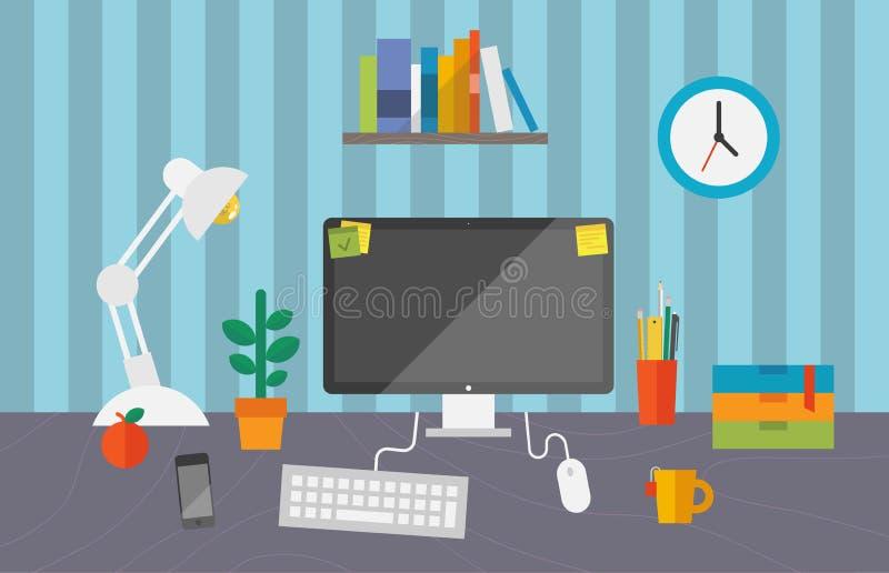 工作空间在办公室 向量例证
