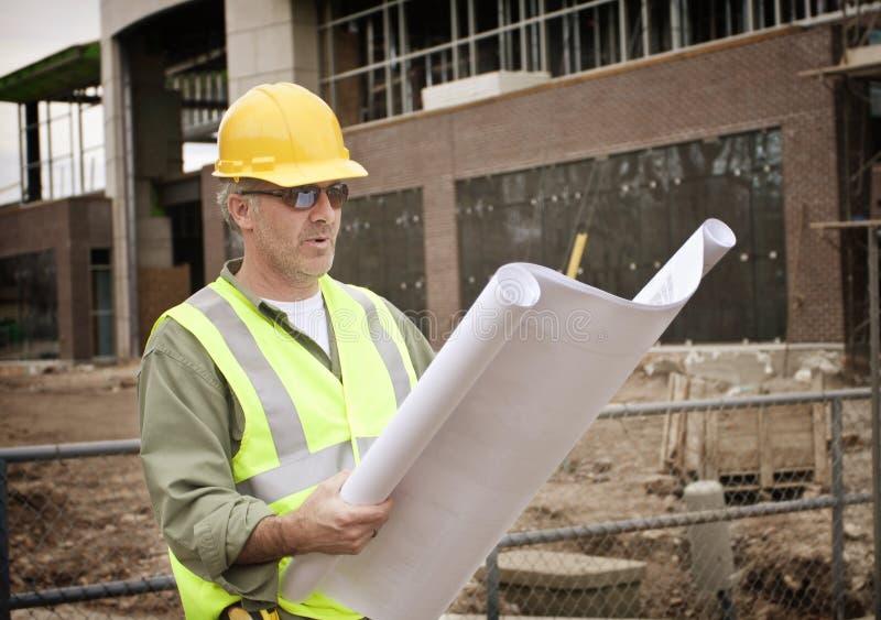 工作站点的建筑工头 库存图片