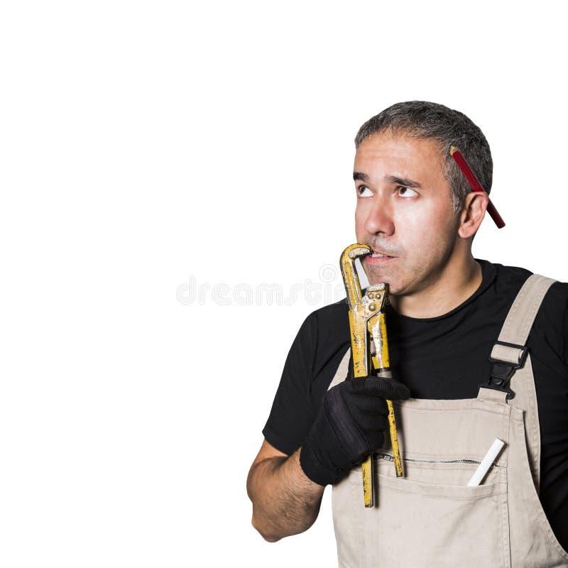 工作者专家水管工、工程师或者建设者与板钳 图库摄影