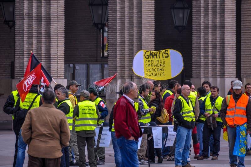 工作者会议毛发的正方形的在萨瓦格萨,阿拉贡,西班牙 库存照片