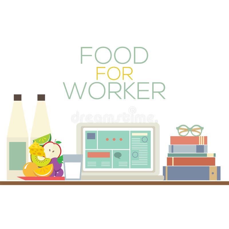工作者健康食物概念的食物 皇族释放例证