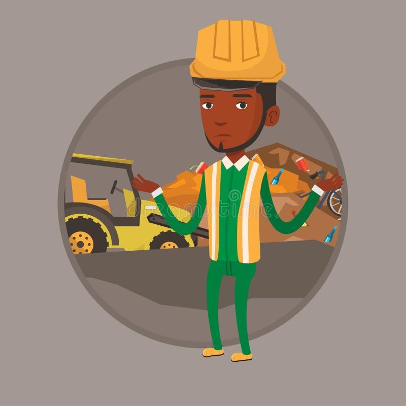 工作者和推土机在垃圾填埋 库存例证