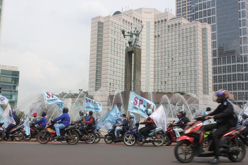 工作者在雅加达召集 图库摄影