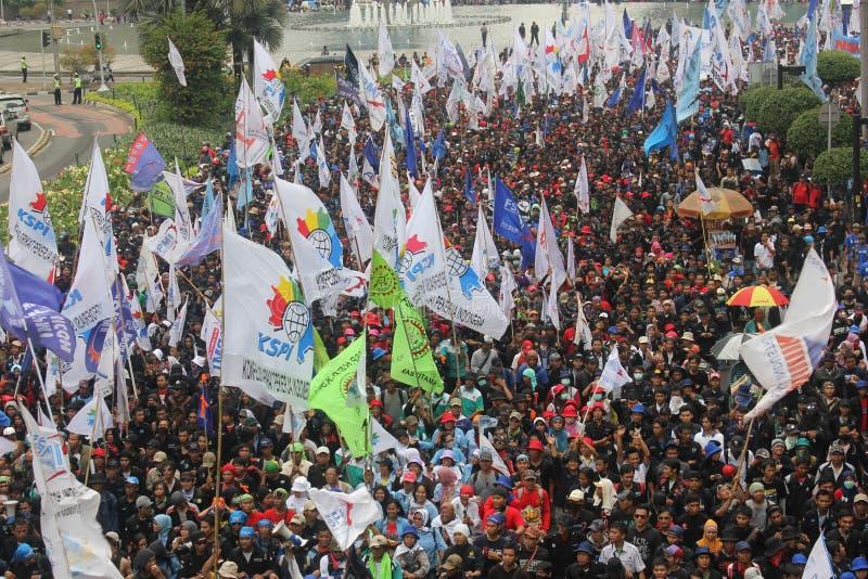 工作者在雅加达召集 免版税库存照片