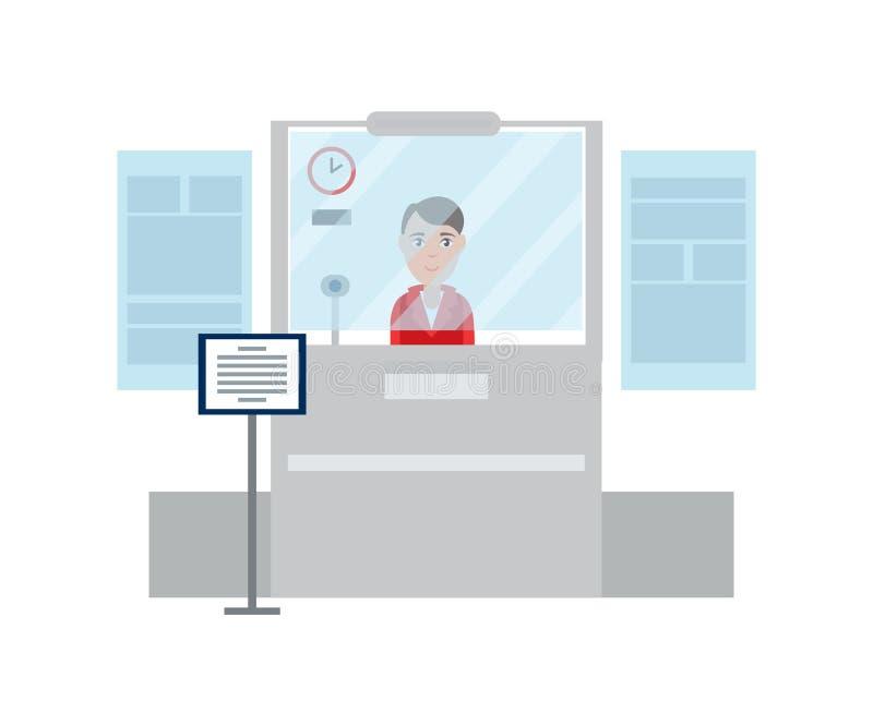 工作者夫人护照管制传染媒介例证 向量例证