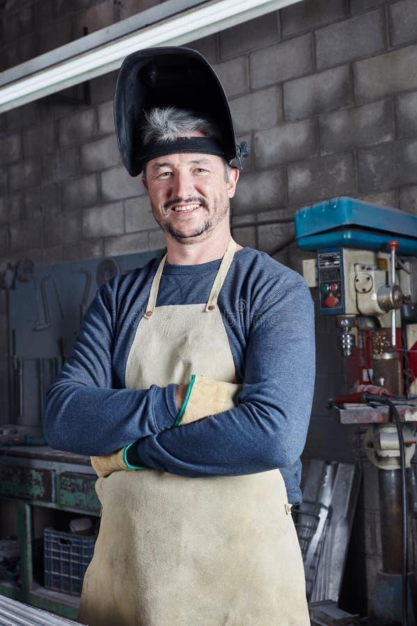 工作者或焊工有自信心的 免版税图库摄影