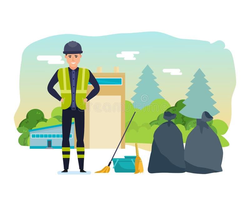 工作者收集垃圾,排序,进一步处理的家庭废物 皇族释放例证