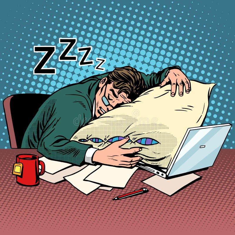 工作者梦想工作场所疲劳处理 库存例证
