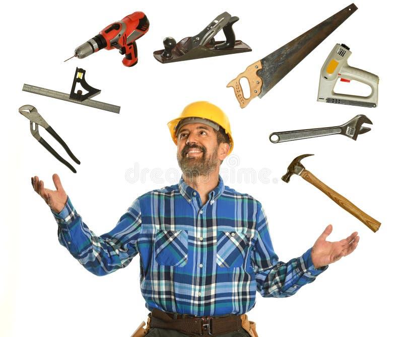 工作者玩杂耍的工具 免版税库存照片