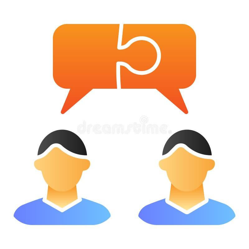工作者聊天平的象 雇员谈话在时髦平的样式的颜色象 队对话梯度样式设计,设计为 库存例证