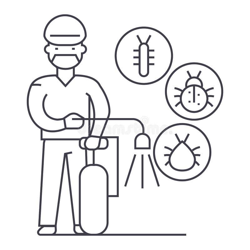 工作者,臭虫驱逐舰传染媒介线象,标志,在背景,编辑可能的冲程的例证 向量例证