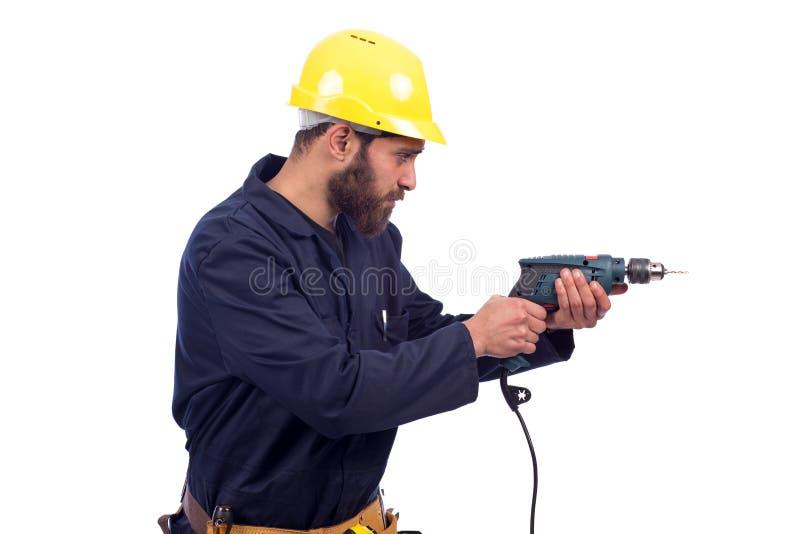 钻工作者年轻人 免版税库存图片