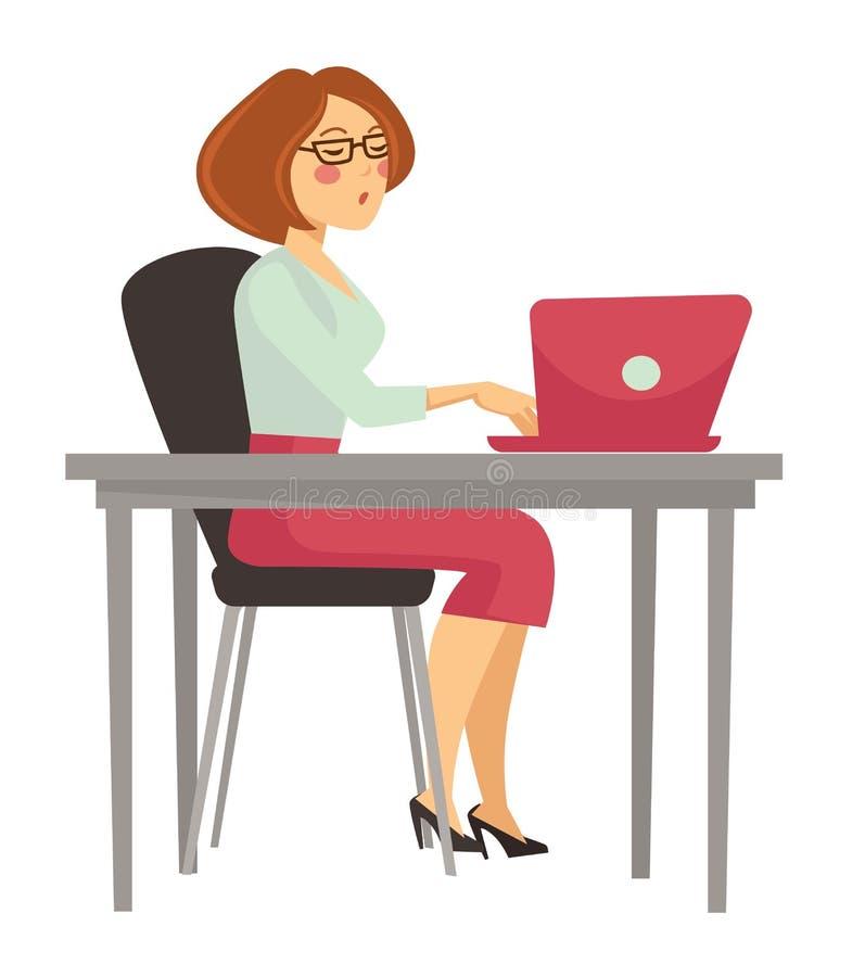 工作膝上型计算机的妇女在书桌被隔绝的女性角色 库存例证