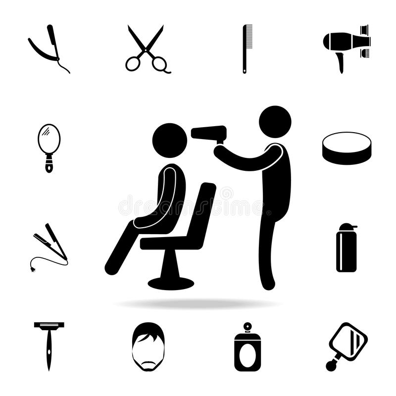 工作象的美发师 详细的套理发师工具 优质图形设计 其中一个网站的汇集象,网desi 皇族释放例证