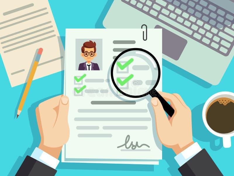 工作面试概念 商人cv简历,工作评估传染媒介背景 库存例证