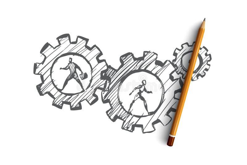 工作,事务,自动化, HCI,技术概念 手拉的被隔绝的传染媒介 向量例证