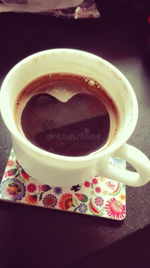 工作-与心脏的咖啡的心脏 库存照片