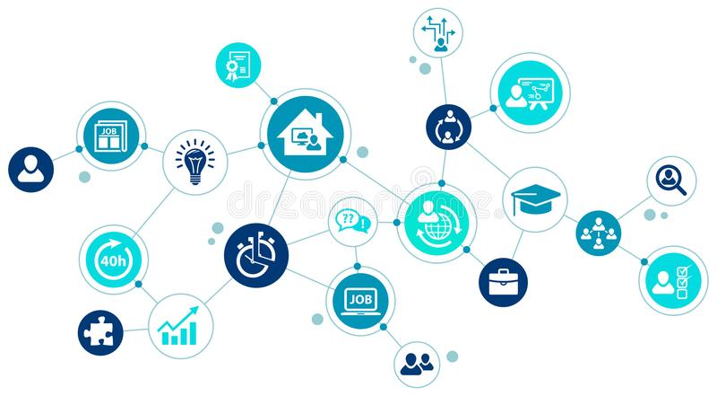 工作4 0 - 公司和雇员的新的挑战在一个改变的工作市场上 库存例证