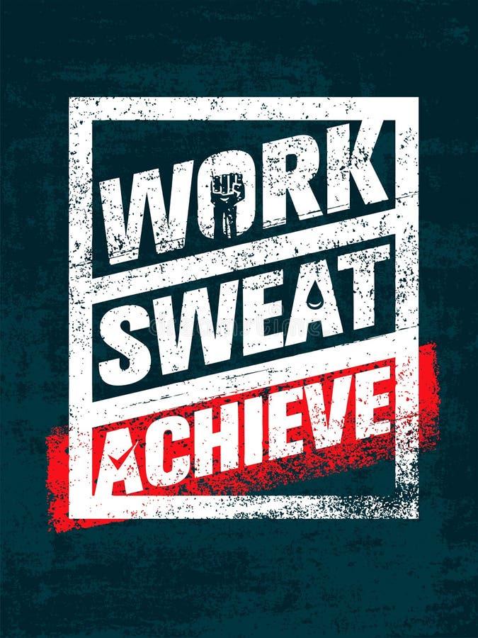 工作 汗水 辅助 锻炼和健身刺激行情 创造性的传染媒介印刷术难看的东西横幅概念 皇族释放例证