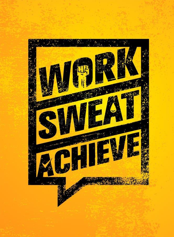 工作 汗水 辅助 锻炼和健身刺激行情 创造性的传染媒介印刷术难看的东西横幅概念 向量例证