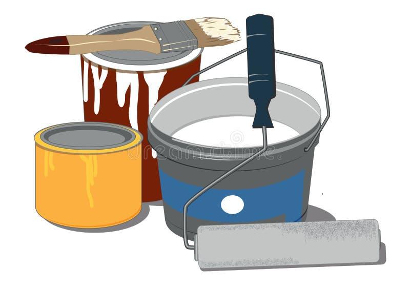 绘画工具和油漆罐头 向量例证