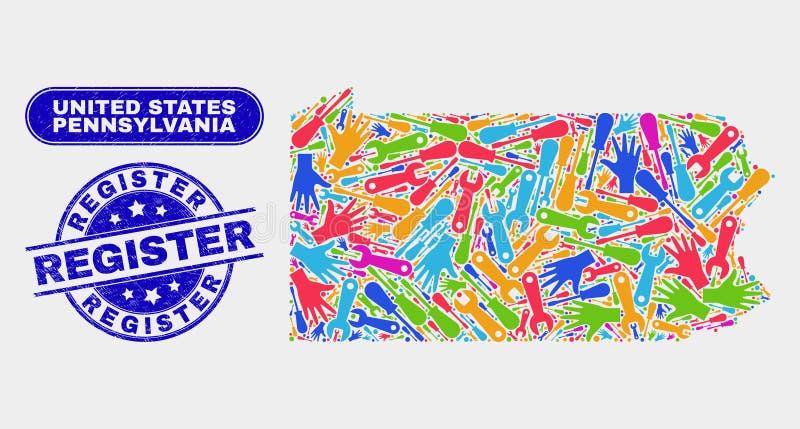 工具宾夕法尼亚州地图和被抓的记数器邮票封印 向量例证