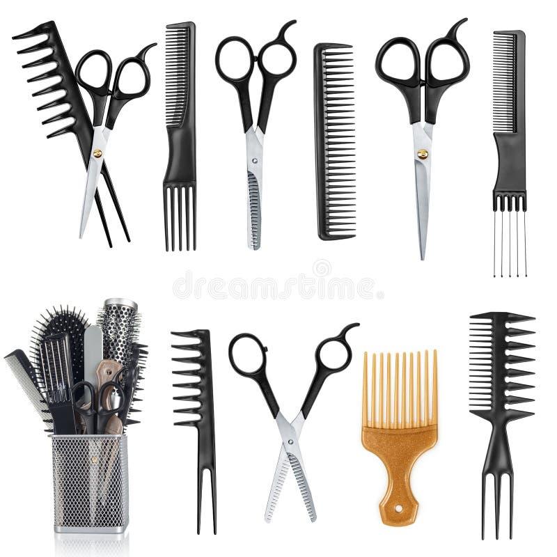 工具的一汇集为专业美发师和化妆师的 免版税库存照片