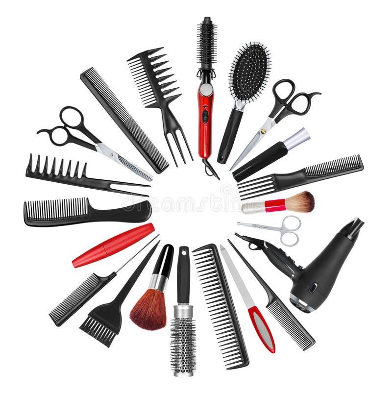 工具的一汇集为专业美发师和构成a的 免版税库存图片