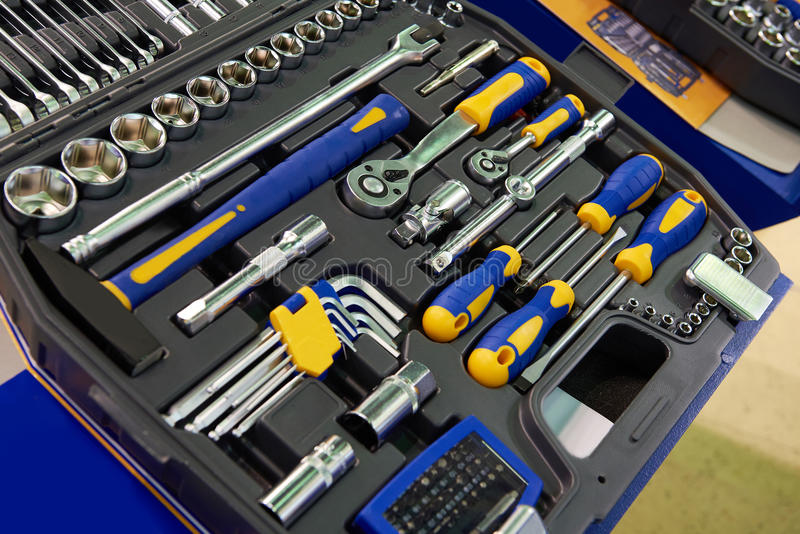 工具箱在塑料盒的套筒扳手 库存图片