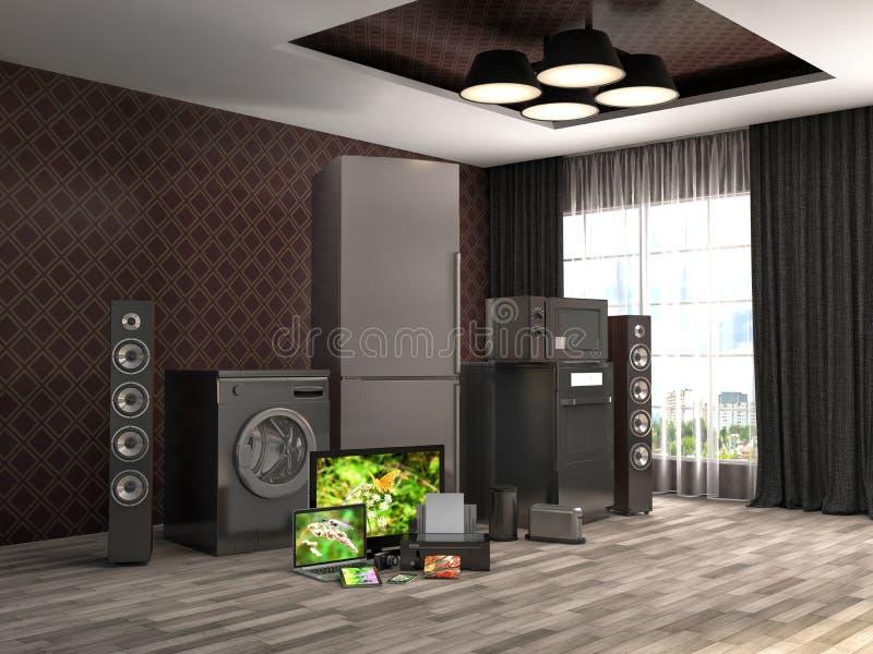 工具设计家图标厨房设置了您 煤气灶,电视戏院,冰箱,微波, 库存例证