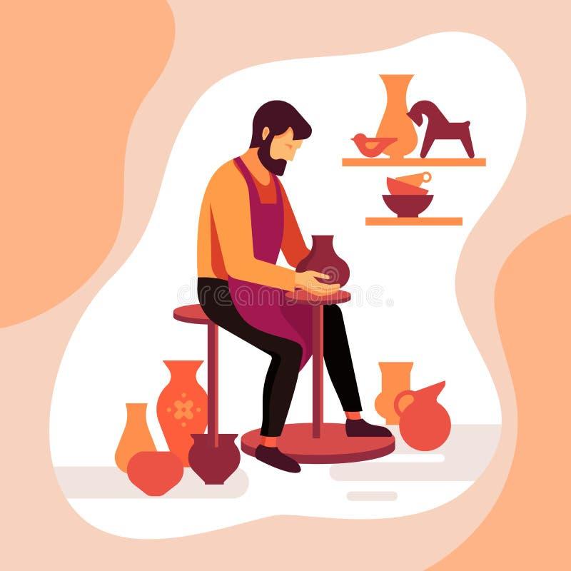 工匠陶瓷工雕刻一个花瓶在机器的黏土 瓦器大师的传染媒介例证在工作 向量例证