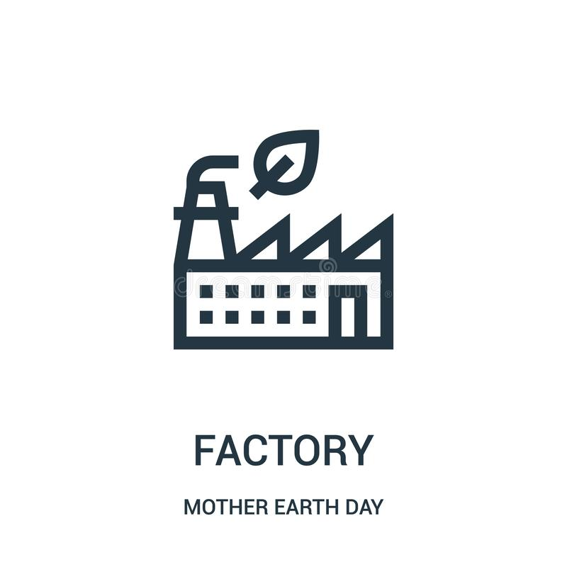 工厂从大地天汇集的象传染媒介 稀薄的线工厂概述象传染媒介例证 向量例证